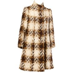 Preowned Castillo Lanvin 1960S Wool And Silk Coat ($895) ❤ liked on Polyvore featuring outerwear, coats, jackets, vintage, multiple, silk coat, vintage coat, brown houndstooth coat, wool coat and houndstooth coat