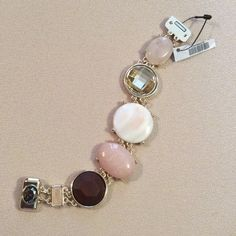 NWT Blush pink & neutral stones magnetic bracelet Simulated stones. Magnetic closure. 40% metal, 20% plastic, 20% other & 10% seashell.  ijtwtwzx. Chico's Jewelry Bracelets