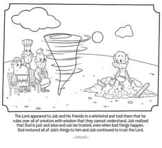 Kids coloring page from What's in the Bible? featuring Job and God's visit in a whirlwind. Volume 8: Words to make Us Wise!