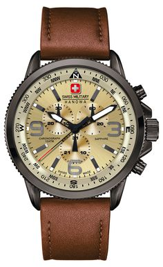 Swiss Military 6-4224-30-002 Mens Arrow Brown Chronograph Watch Visuais  Masculinos fd2570a6d2