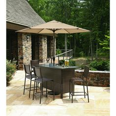 5 Piece Patio Bar Set Table Chairs Outdoor Bartender Deck Furniture Bistro  Pub #GardenOasis | Outdoor Stuff | Pinterest | Patio Bar Set, Deck Furniture  And ...