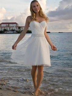 knee length wedding dress.. Perfect for a beach wedding