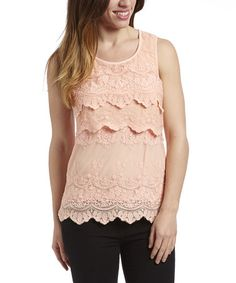 Another great find on #zulily! Coral Lace Tier Sleeveless Top #zulilyfinds
