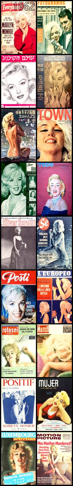 1962 magazine covers of Marilyn Monroe