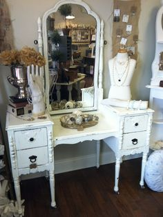 antique vanity painted with homemade chalk paint. would be good for a make-up station