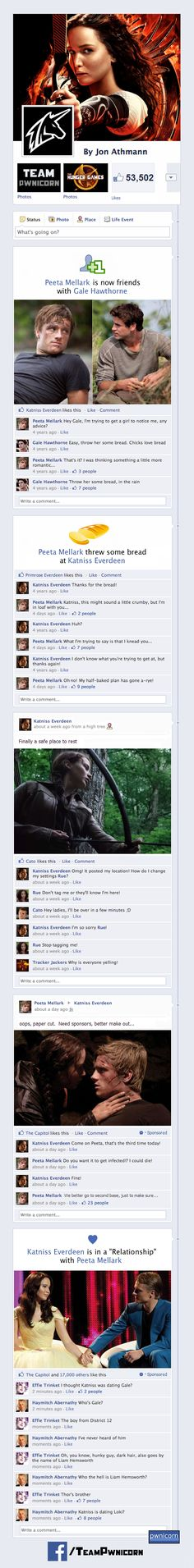 """What If... The Hunger Games Characters Were On Facebook? My fave is Haymitch's last comment: """"katniss is dating loki?"""" This is so nerdy, but I love it."""