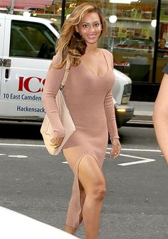 Beyoncé wore a plunging nude dress with a high slit while stepping out in NYC.