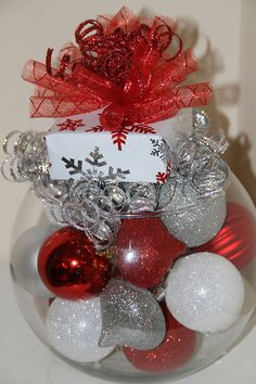 Items similar to Christmas Centerpiece - Red, White, and Silver Holiday Decor on Etsy Christmas Tree Colored Lights, Silver Christmas Decorations, Colorful Christmas Tree, Christmas Centerpieces, Beautiful Christmas, Christmas Home, White Christmas, Christmas Crafts, Christmas Bulbs