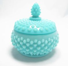 Fenton turquoise pastel hobnail powder jar. Beautiful blue, Wonderful texture. Old piece. Current color...