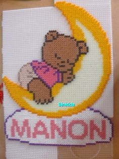 Baby Bear with name hama perler beads by Bénédicte Lambert