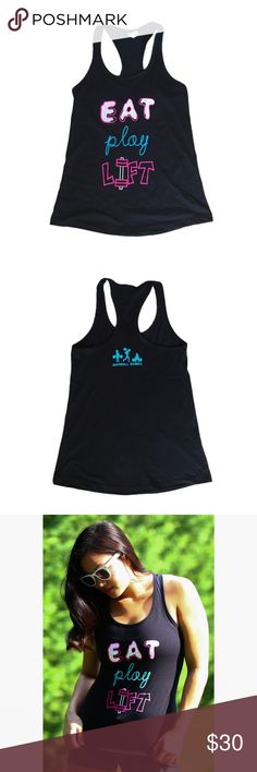 """🆕 Barbell Babes Eat Play Lift Workout Tank L The fit girl's version of """"eat, pray, love"""" - we """"eat, play, lift!"""" 60% Cotton, 40% Polyester. True to size but is a tighter fitting tank. True to size, looser fit. 🚫 No trades. No holds. 📦 Fast shipping! Barbell Babes Tops Tank Tops"""