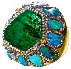 Kimberly McDonald emerald, boulder opal and diamond cocktail ring...love KM designs..♡♡