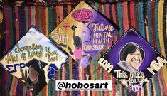 by @HobosArt Custom Graduation Caps, Graduation Cap Designs, Grad Cap, Colorful Wall Art, Beautiful Paintings, Peace And Love, Photo Wall Art, Original Paintings, Hand Painted