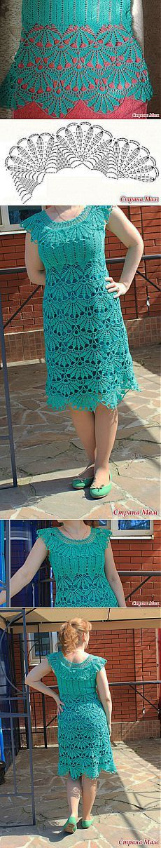 """Моё изумрудное платье с веерами из он-лайна: Дневник группы """"Вязание"""" - Страна Мам"""
