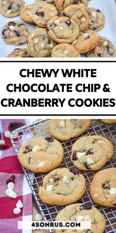 Cookies are one of America's all time favorite desserts, especially since they're so customizable. Give your traditional version a festive spin with these tasty white chocolate chip Amazing Recipes, Delicious Recipes, Yummy Food, Christmas Treats, Christmas Cookies, Cookie Recipes, Dessert Recipes, One Smart Cookie, Cranberry Cookies