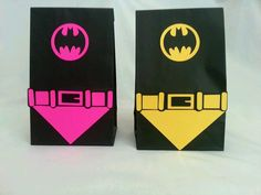 Batman or Batgirl party bags with capes and belts by JazzyBug, $29.99