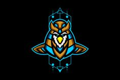 horus head mascot logo for e sports team badge or t shirt illustration Owl Head, Team Logo Design, Esports Logo, Dope Art, Geometric Background, Graphic Illustration, Logos, Creative, Flyers