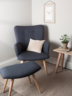 NEW Upholstered Chair and Footstool - Charcoal