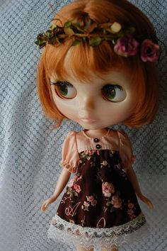 Blythe Rose  dress and floral head by blythewithyouandme on Etsy, $18.00