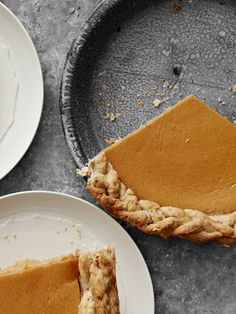 Pumpkin Pie with Walnut Crust. Quick tip: Use ice-cold butter and water to yield a flaky piecrust--and chill the dough before rolling.    #pie #recipe #thanksgiving