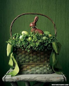 DIY Easter planter centerpiece- basket, eggs, fake chocolate bunny, clover or other live greenery
