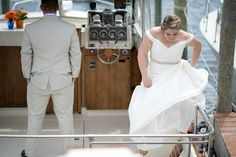 Nautical Wedding, Forked River, NJ.  Latitudes on the River. Photos: Inspire Me Imagery.   Our first looks! #coccamo, boating bride