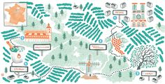 Map of Champagne Region of France for Destination Vacation - Antoine Corbineau • Illustration & Design