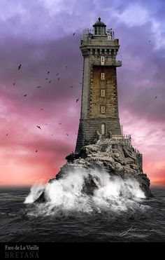 """Phare de la Vieille - The Old Lady ~ Plogoff, Raz de Sein Finistère Bretagne, France - La Vieille (""""The Old Lady"""") is a lighthouse in the département of Finistère at the commune of Plogoff, on the northwest coast of France. Beautiful World, Beautiful Places, Wonderful Places, Belle France, Lighthouse Pictures, Beacon Of Light, Belle Photo, Wonders Of The World, Scenery"""