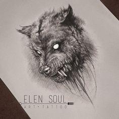 Wolf by ElenSoul by ElenSoul Animal Sketches, Art Drawings Sketches, Tattoo Sketches, Tattoo Drawings, Bild Tattoos, Neue Tattoos, Fenrir Tattoo, Tattoo Bauch, Werewolf Art