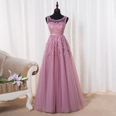 Unique round neck tulle lace long prom dress for teens, modest prom dress long