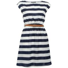 Mela Blue and White Striped Dress ($16) ❤ liked on Polyvore featuring dresses, blue and white dress, short-sleeve dresses, blue and white stripe dress, blue white striped dress and striped dress