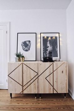 I love this simple IKEA furniture hack! All you need is this wooden cabinet, some bronze colored washi tape and these furniture legs from Prettypegs. With the tape you can create a geometric pattern a