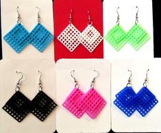 Plastic Canvas Earrings OneColor Layered Large by gailscrafts, $6.00