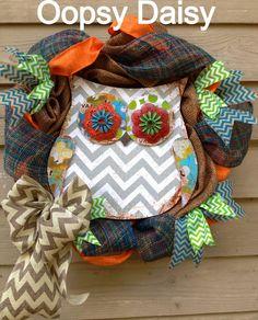 burlap chevron owl wreath burlap wreath by OOPSYDAISYDESIGNS