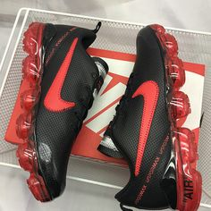 c0fbb8889b9a45 Nike Air Max 2019 Leather Black Red Men s Running Shoes NIKE-ST005353