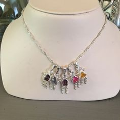 Kids 925 Birthstone Necklace Set of 5 & Chain 5 charms and necklace. 3 girls 2 boys.  Chain is silver tone.  I do have silver chains for sale in my closet in different lengths. Insependent Designer Jewelry Necklaces