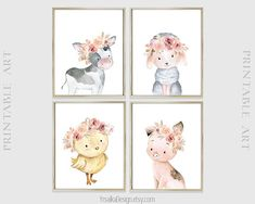 Instant Download - Farm animals print set of 6 can be an amazing decoration for your little girls farm themed bedroom. Floral watercolor paintings for nursery wall decoration. Flower crowned farm backyard animals creatures art print. Pink floral animal nursery decor. 8x10 inches (20x25