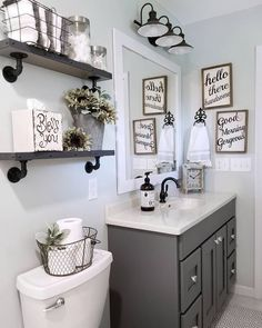 If you are looking for Small Bathroom Makeover Ideas, You come to the right place. Below are the Small Bathroom Makeover Ideas. Upstairs Bathrooms, Downstairs Bathroom, Grey Bathroom Decor, Bathroom Shelves Over Toilet, Farmhouse Decor Bathroom, Bathroom Theme Ideas, Bathroom Sinks, Grey Bathroom Vanity, Restroom Ideas