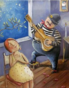 """Original painting on canvas """"Romantic Bill goes all out"""" 8""""x10"""". $135.00, via Etsy."""