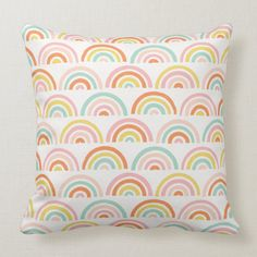 Shop Stamped Rainbows Kids' Throw Pillow - Tangerine created by AmberBarkley. Rainbow Bedding, Rainbow Nursery Decor, Rainbow Bedroom, Girl Nursery, Nursery Ideas, Girl Room, Baby Room, Mermaid Nursery, Bear Nursery