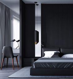 Essential things for Minimal Interior Design Inspiration – Interior Design Examples, Black Interior Design, Luxury Interior, Design Ideas, Bedroom Design Inspiration, Modern Bedroom Design, Bed Design, Design Bathroom, Modern Mens Bedroom