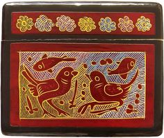 Burgundy Mexican Olinalá box. Bird, butterfly, fish and rabbit design: right side