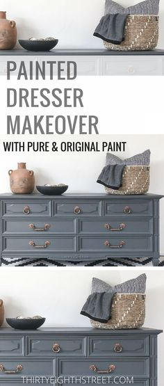 How To Paint Wood Furniture! Painting Furniture With Chalk Paint Gives Your Furniture A Refresh! Grey and Copper Painted Dresser Makeover is GORGEOUS! LOTS of Furniture Makeovers and Painted Furniture Tutorials. #paintedfurniture #paintingfurniture #chalk