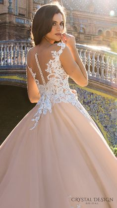 crystal design 2017 bridal illusion off the shoulder cap sleeves sheer boat sweetheart neckline heavily embellished bodice lace blush princess ball gown wedding dress royal train (jill) zbv