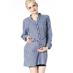 Vancl Maternity Checked Shirt with Sash