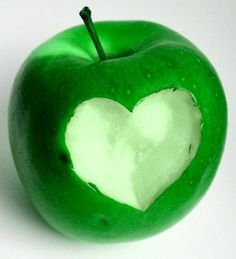 This spring green apple is perfect SPRING Energy. It's also the heart chakra color so works in the bedroom, too. I Love Heart, Happy Heart, My Heart, Heart In Nature, Heart Art, World Of Color, Shades Of Green, My Favorite Color, Green Colors