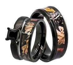 black spinel camo stailess steel camo wedding ring set