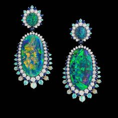 fab1d08e7 [Dazzling opals] Feast your eyes on these exceptionally beautiful black  opal earrings by the