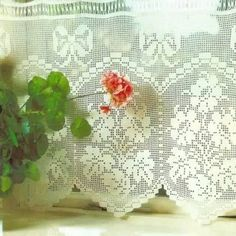 crocheted curtain