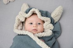 Fourth color is Ocean in grey-blue. With the foxy ears your baby is wrapped in love.